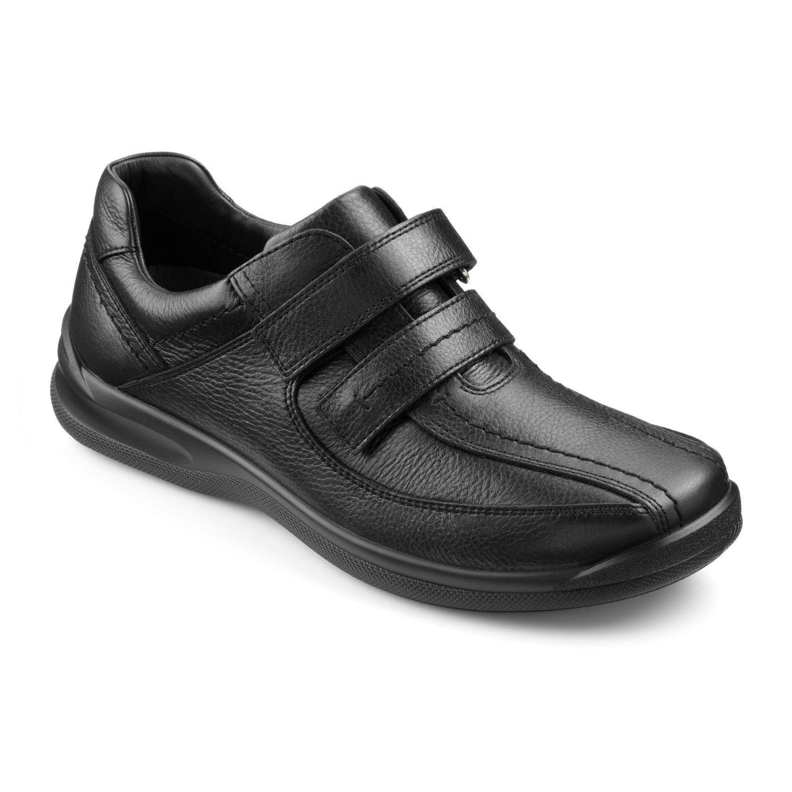 Hotter Mens Medway Black Wide Fitting Comfort Shoes rrp £79