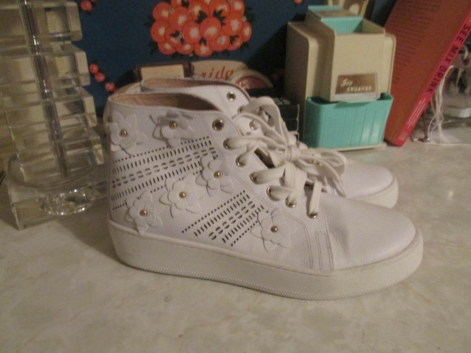 ANTHROPOLOGIE  Maimai Embellished  HighTop HighTop HighTop blanc leather Taille EU 39 NEW 22e843