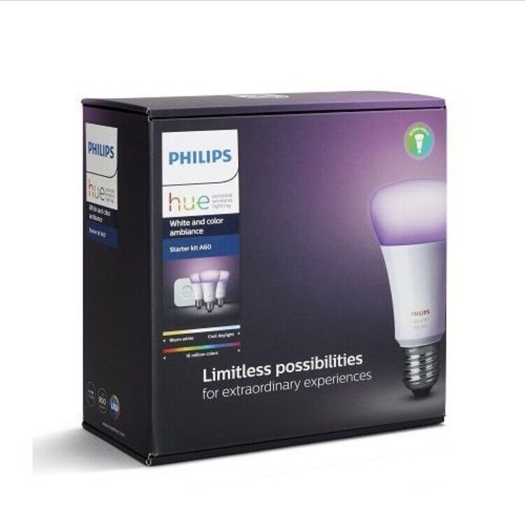 New Philips Hue 3.0 Weiß and Farbe Ambiance Starter Kit A60 (Light+Bridge Set)