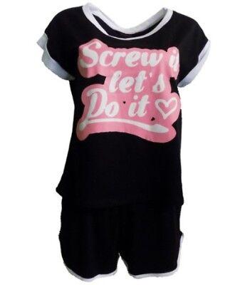 Pyjama Shorty kurzer Schlafanzug Damen schwarz  Spruch 36-54 NEU