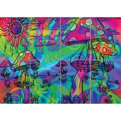 Psychedelic Mushrooms Trippy Wall Art Multi Panel Poster Print 47X33 Inches