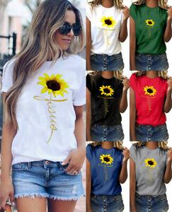 Women-Summer-Plus-Size-O-Neck-Sunflower-Print-Short-Sleeve-T-shirt-Blouse-Tops