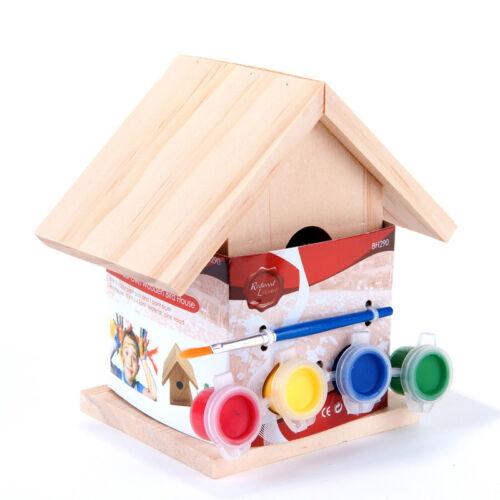 Paint Your Own Wooden Bird House Garden Nesting Box Children Craft Ideal Gift