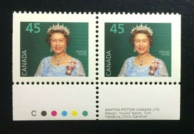 Canada #1360ixs +Tab CP MNH, Queen Elizabeth II Booklet Pair of Stamps 1995
