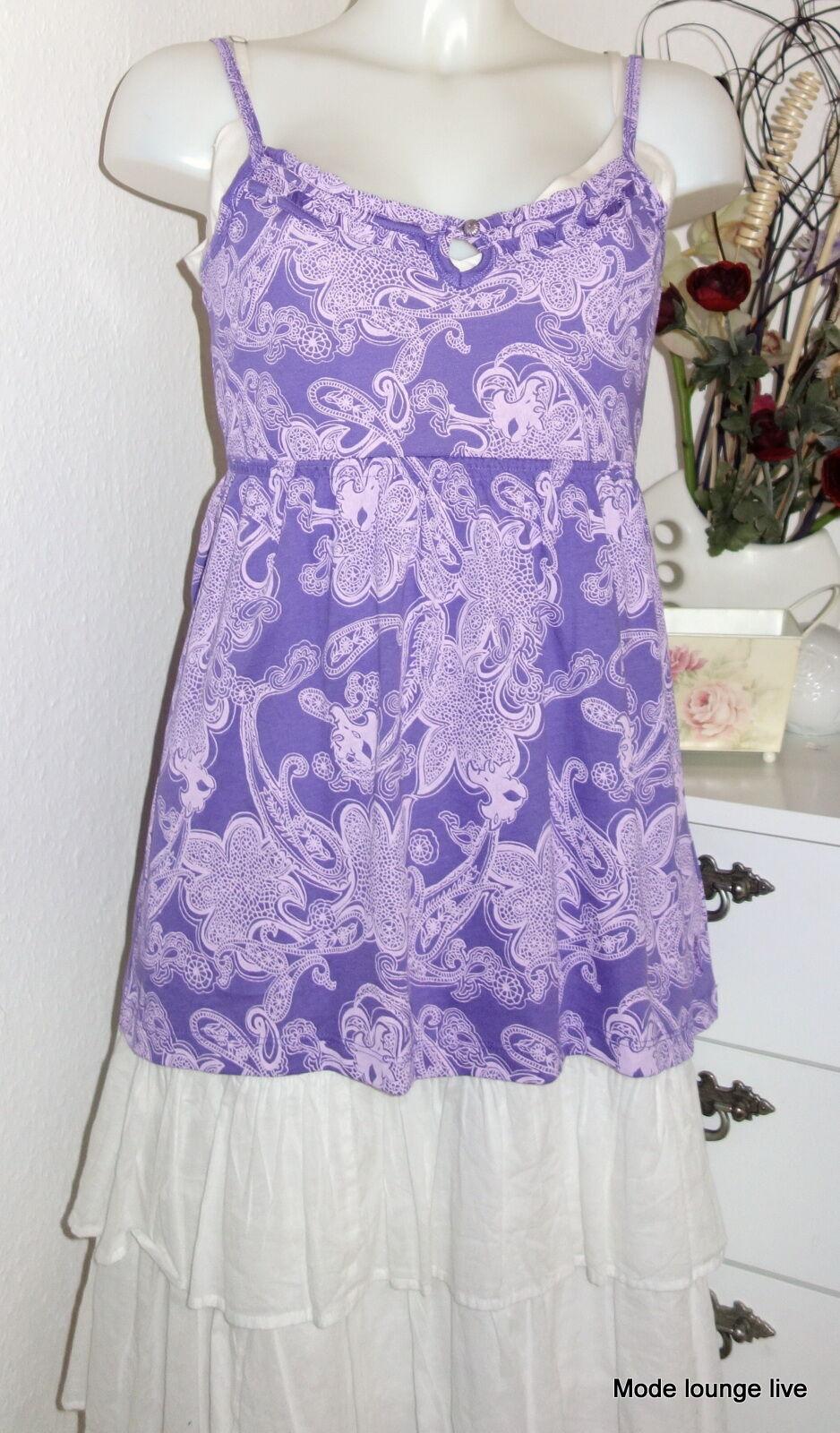 ESPRIT Long Top Tunika shirt M L XL purple bluemen purplet flower flieder