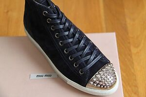 NIB-New-MIU-MIU-Suede-Studded-Sneaker-Shoes-5T8556-Sizes-Miu-Miu-36-38-US-6-8