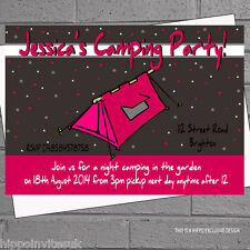 Girls Pink Camping Tent Sleepout Kids Birthday Party Invites x 12 +envs H0078