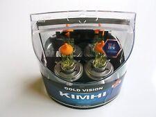 KIMHI H4 12V 60/55W GOLD VISION HALOGEN HEADLIGHT BULBS COLOUR 3000K TWIN PACK