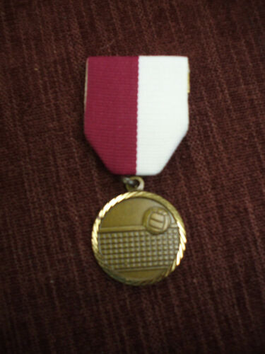 """gold Volleyball medal ball and net maroon//white pin drape 1 1//4/"""""""