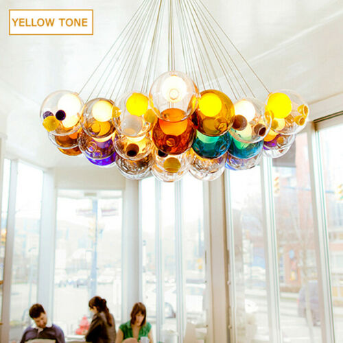 Modern Chic Bocci Cluster Pendant Light with Multi-color Hand-blown Glass Globes