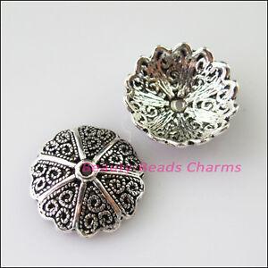 70Pcs Tibetan Silver Flower Star End Bead Caps Connectors 11mm