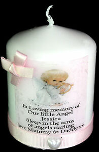 baby girl angel memorial personalised candle unique by cellini