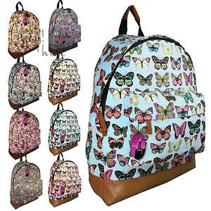 Canvas-Print-Backpack-Ladies-Girls-Bag-Rucksack-Travel-Gym-School-College-A4