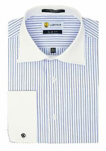 Labiyeur-Slim-Fit-Blue-Stripes-on-White-French-Cuff-Dress-Shirt
