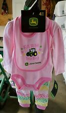 John Deere Infant 2-piece Pink Jfz281pn Snap PJs W/footies & Reversable Bib 3/6m