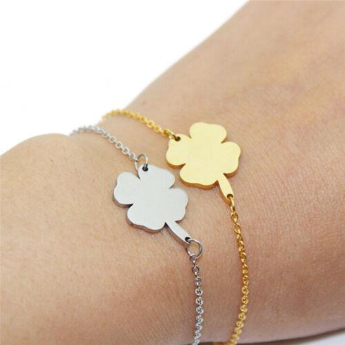 Bracelet en acier inoxydable collier 4Leaf trèfle irlandais bonne cha GL