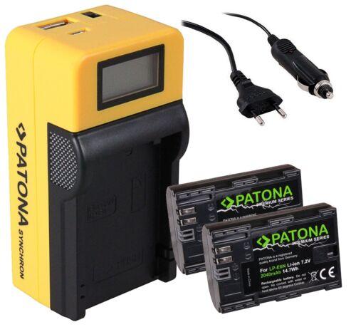 caricabatteria LCD per Canon lp-e6 lp-e6n 2x Patona PREMIUM Batteria 2040mah INFO CHIP