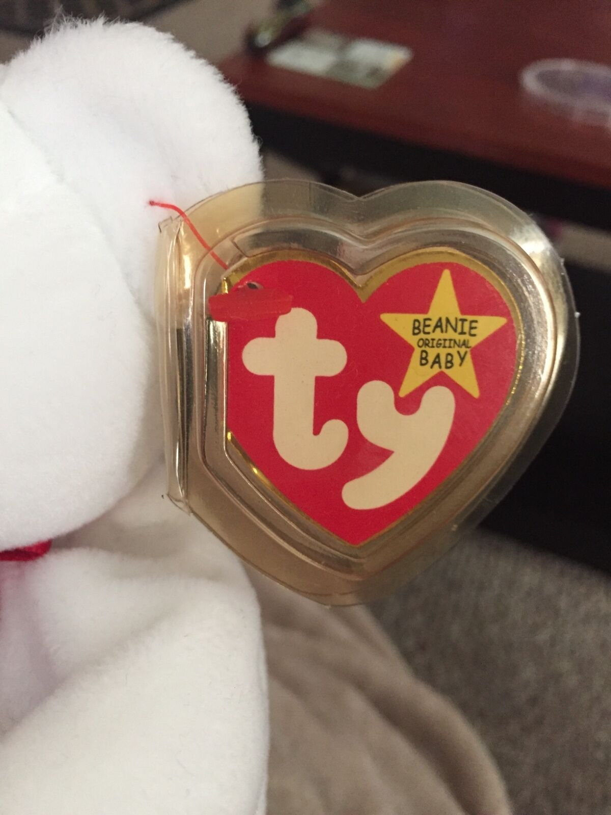 February 14 14 14 1993 RARE Valentino Beanie Baby with tag and origional case. Defects 9e6883