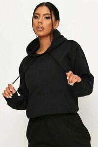 Womens Ladies Pullover Hoodie Plain Fleece Sweatshirt Jumper Top Hooded Jacket