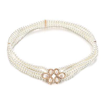 Girls Ladies Pearl Waist Belt Rhinestone Diamante Buckle For Bridal Party Dress