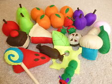 The Very Hungry Caterpillar felt story telling resource - felt food pieces, sack