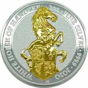 2-Onza-Plata-UK-2020-The-Reina-S-Beasts-Blanco-Caballo-Of-Hanover-Gilded