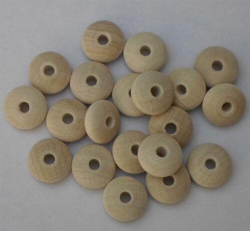 14 x 7 mm mit Bohrung 3 mm Buche gebleicht #1783 Holz-Linsen