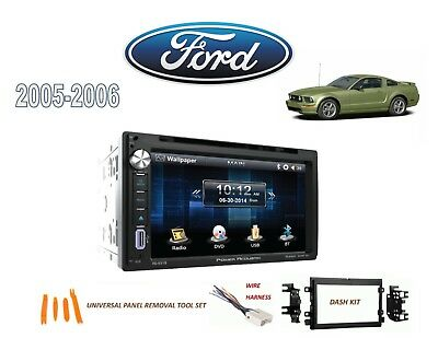 2005-2006 FORD MUSTANG DOUBLE DIN STEREO KIT, BLUETOOTH USB TOUCHSCREEN DVD