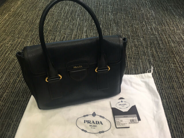 Prada Black Saffiano Pattina Bag