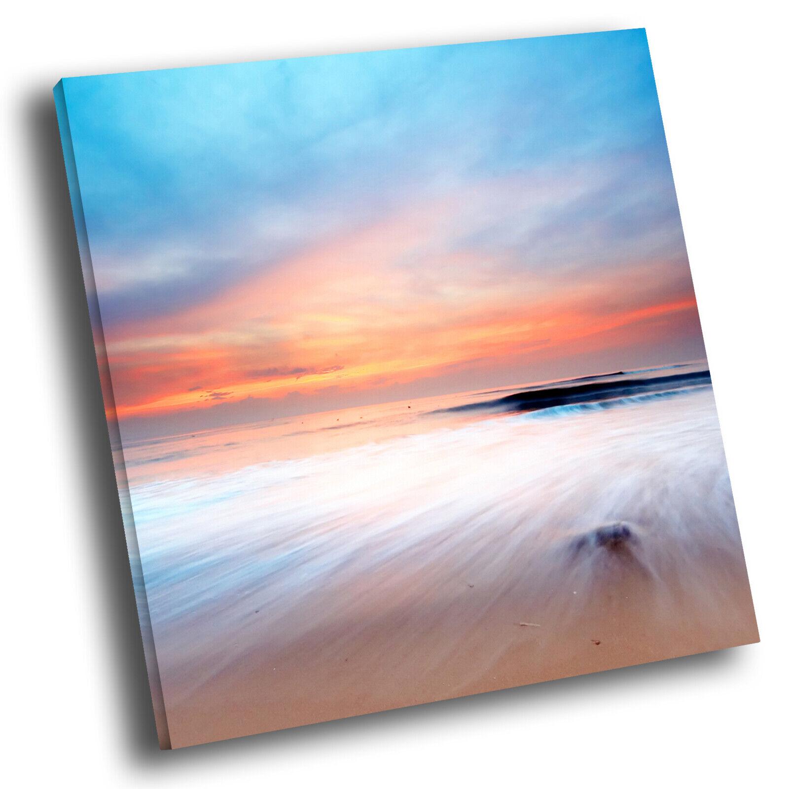 Blau Orange Weiß Beach Cool Square Scenic Canvas Wall Art Large Picture Print