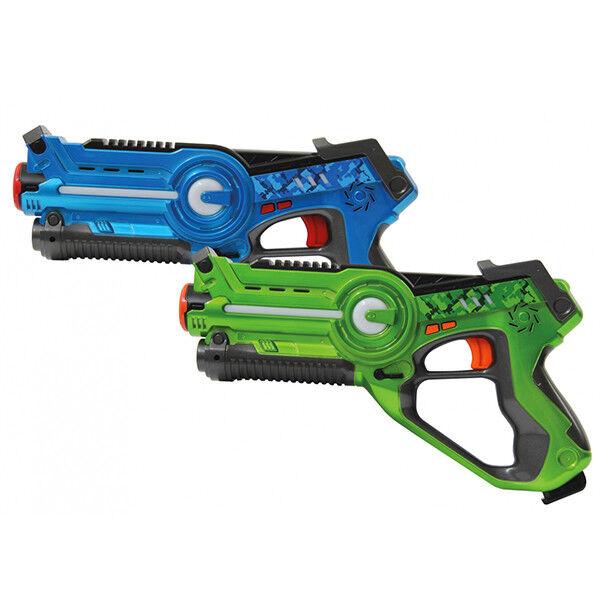 PISTOLA 2 PISTOLE LASER SET ARMI GIOCATTOLO BATTAGLIA LED azul verde JAMARA GUN