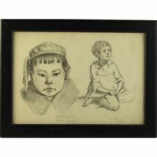 Originale firmato incorniciato ucraino Social Realist ritratto disegno bambini sovietica