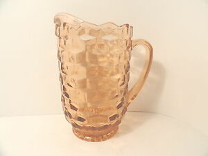Whitehall-American-Elegant-Depression-Glass-3-Pt-Pink-Ftd-Pitcher-Indiana-AS-IS