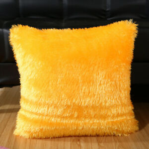 Cushion Cover Hairy Faux Plain Fluffy Soft Throw Pillowcase Washable Pillow Case