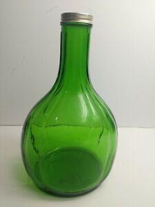 Vintage-Green-Duraglas-Refrigerator-Water-Bottle-w-Aluminum-Lid