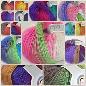 New 1Ballx50g Soft Rainbow Cashmere Wool Baby Yarn Hand ...