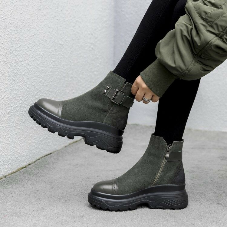 Women Winter Leather Ankle Strappy Zipper Boots Fashion Round Warm shoes Creeper