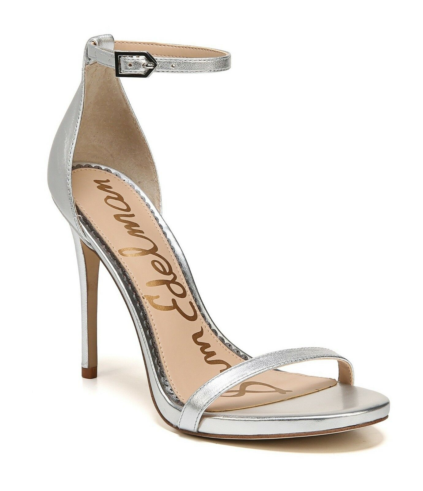 Sam Edelman Edelman Edelman NADYA Metallic Leather Ankle Heel Sandal schuhe Soft Silber 8.5 39 cae679