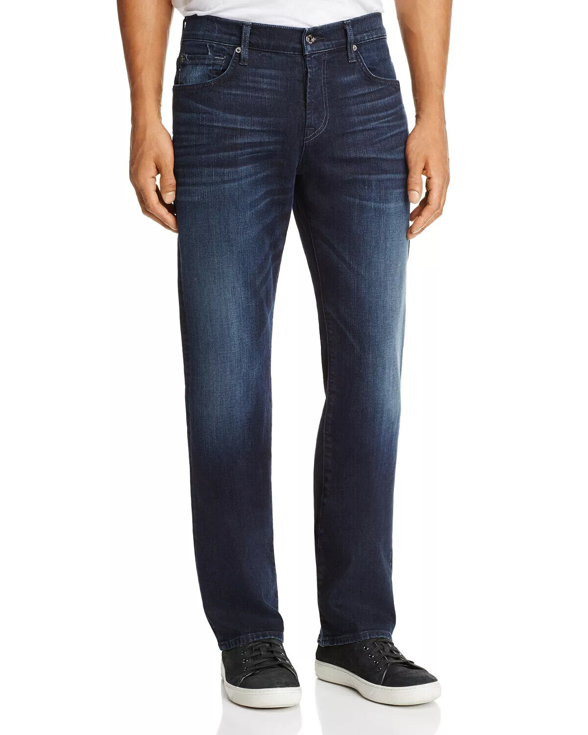 NEW 7 FOR ALL MANKIND CARSEN LUXE PERFORMANCE STRAIGHT INDIGO blueE JEANS 28 X 32