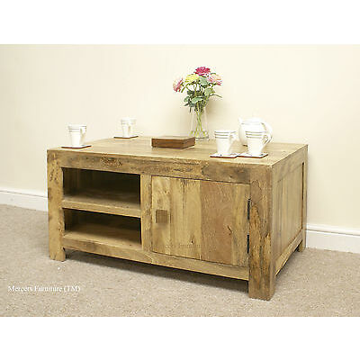 Mantis Light Natural Solid Mango Large TV Cabinet with Door by Mercers Furniture