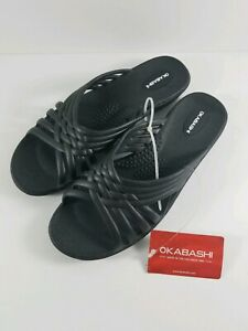 New-with-Tag-Okabashi-Women-039-s-Venice-Sandal-Color-Black-Size-M-6-5-7-5