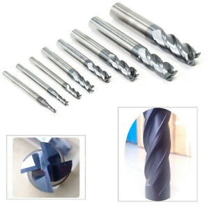 8pcs 2-12mm 4 Flutes Carbide End Mill Set Tungsten Steel Milling Cutter Tool