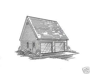 26x26 2 car ld garage building blueprint plans w wkplft ebay for 28x36 garage