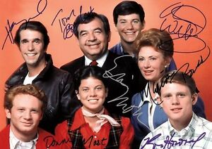 Happy Days Fonzie Cast With Copy Autos Poster | eBay
