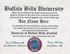 BUFFALO BILLS  NFL FAN  ~ CERTIFICATE ~ DIPLOMA ~MAN CAVE ~ OFFICE GIFT