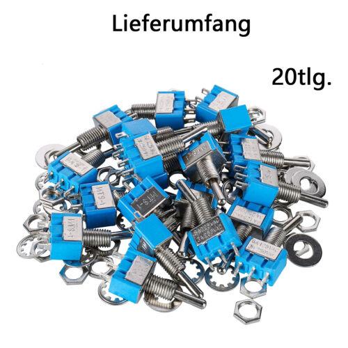 20-tlg Set Miniatur Kippschalter 12V 24V 220V 230V 6A Umschalter EinAus//Ein DE