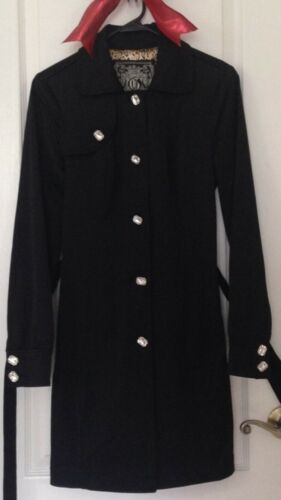 Beautiful GUESS Black Dressy Trench Coat Womens sm