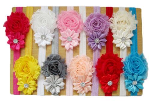 Nouveau mignon bébé Fille Bandeau Cheveux Rose Fleur élastique doux choix de couleurs