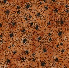 Halloween 100% Cotton Fabric Wicked Orange Spider Web Timeless Treasures 1/2 mtr