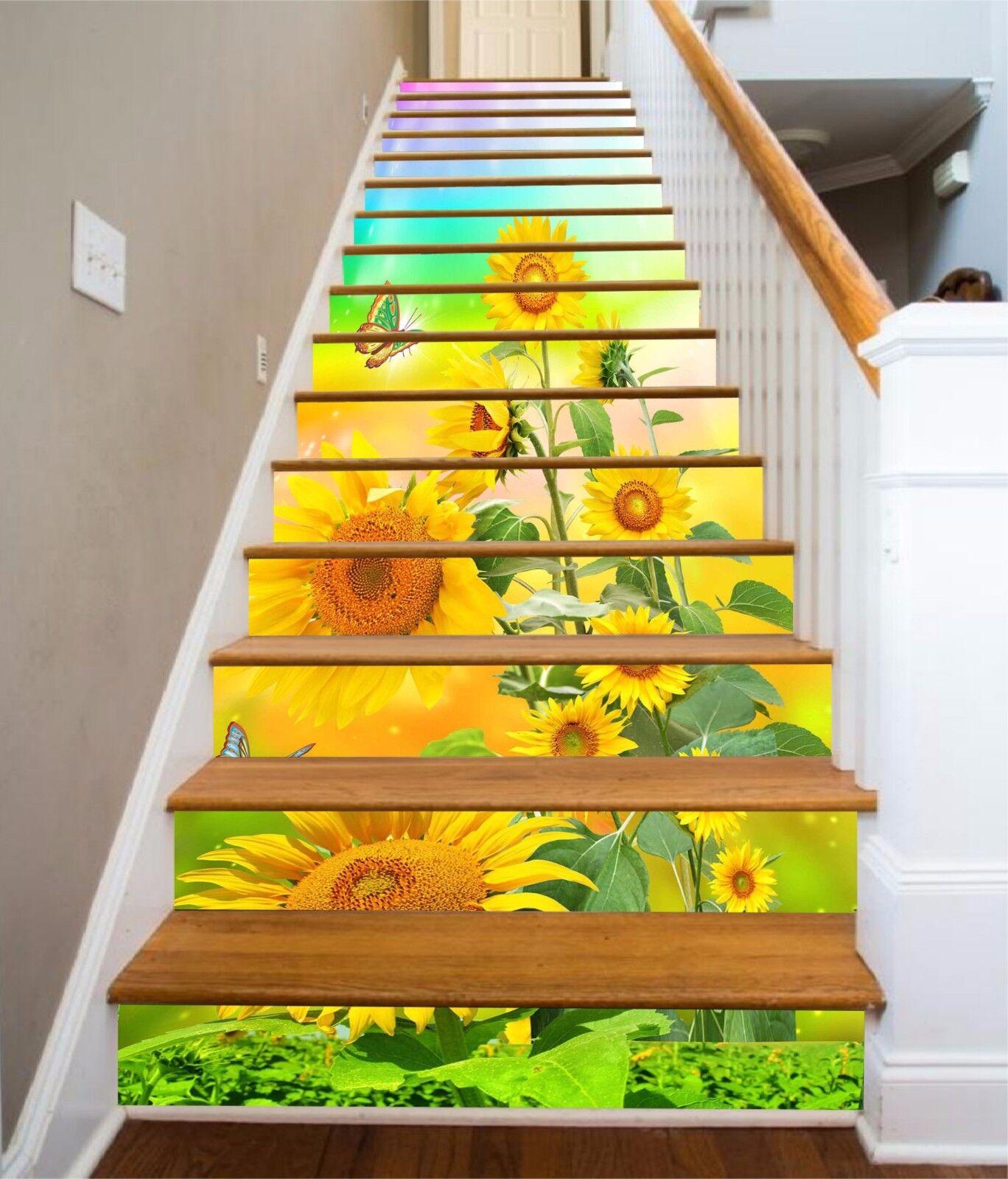 3D Sunflower Butterfly 68 Risers Decoration Photo Mural Vinyl Decal Wallpaper CA